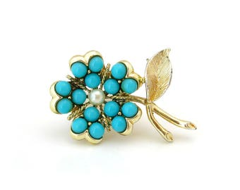SARAH COVENTRY Brooch Aqua Fleur Flower • Small Turquoise Blue Floral Pin • Book Pc • Vintage 1960s Jewelry