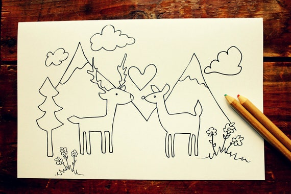 Rustic Wedding coloring pages Instant