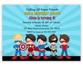 Super Heroes Birthday Invitation (Digital File)