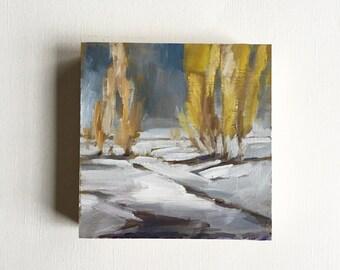 "First Snow • original 4 x 4"" oil painting"