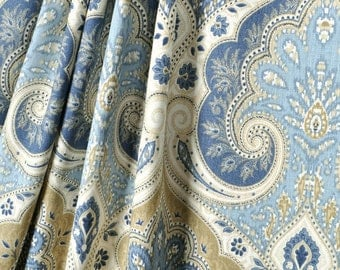 Kravet Portfolio latika DELTA blue Pair rod pocket,lined designer curtain panels, drapes,