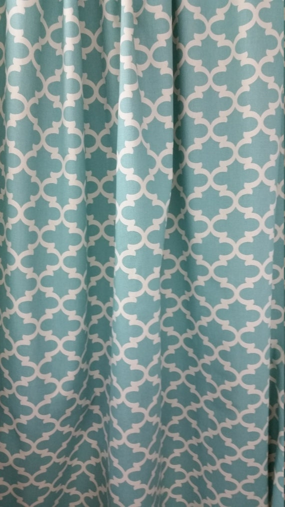Fabric Shower Curtain Fulton Cotton Village Blue By Kirtamdesigns
