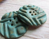 BIG chunky handcrafted turquoise buttons, handmade buttons, big buttons, chunky bold buttons, turquoise buttons