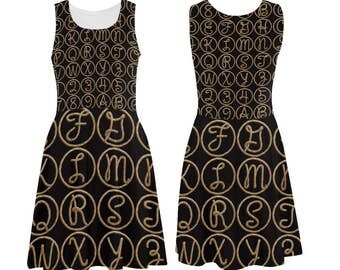Vintage Rope Alphabet Dress - printed photographic rope letters tank dress - USA XS-3XL
