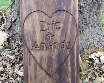 Personalized Wedding Gift Couples Name Signs Heart 3D CARVED Custom Wooden sign Established burnt distressed sign gifts for her lovejoystore