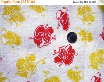 SALE:) Vintage Novelty FEEDSACK Cotton Fabric -  SWEET Red and Yellow  Baby Shoes on White Background  ( #2 ) - 36 x 42