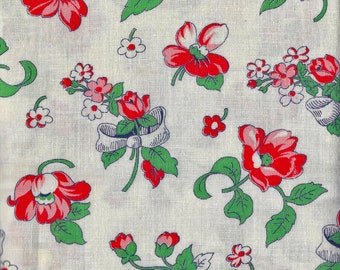Vintage  Feedsack Flour Sack  Cotton Quilting Fabric //  Bouquets of Flowers and Bows Red and Green  // 37 x 46