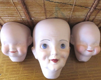 3 Vintage doll heads Ceramic heads Porcelain doll heads Bisque doll heads Doll parts Reproduction doll head 1980's Cheap heads Inexpensive