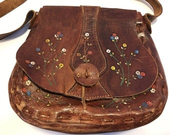 Amazing 70s Handmade Leather Hippie Shoulder Purse with Painted Flowers