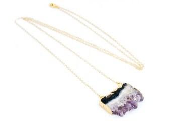 Amethyst Necklace,Crystal Necklace,Druzy Necklace,Amethyst Slice Necklace,Amethyst,Raw Stone Necklace,Gemstone Necklace,Gift for Her