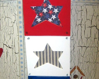 SALE! - SALE! - SALE! - Was 15.00 - Now 10.00 -- 4th of July - Triple ReD, WHiTE & BLuE Hanging Wooden Frame - Hand Painted