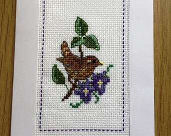 Cross stitched wren and flowers Happy Birthday card