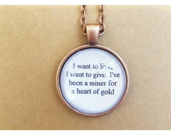 Heart of gold lyric quote necklace- Neil Young lyric quote necklace