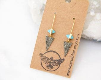 Turquoise and Pyrite Triangle Earrings