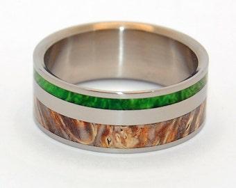 Titanium wedding ring, wedding band, wooden ring, men's ring, woman's ring, green and golden box elder wood, titanium ring - SPRING ETERNAL