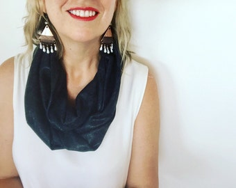 Womens Charcoal Gray Shiny Modern Infinity Scarf, Cowl, Accessories Christmas Gift, Gift for her, Teenager Gift