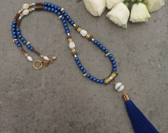 Stunning Stylish Long Womens Cobalt Blue, Gold, White Beaded Glass Pearl Beaded Tassel Necklace, Gift for Her, Valentines Gift, Wear to Work
