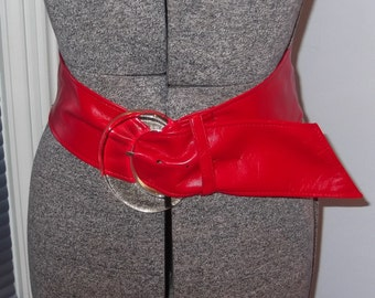 Wide Red Pleather Belt With Plastic Buckle