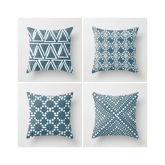 Teal Throw Pillow - Modern Throw Pillow - Geometric Pillow - Blue Cushion - White Triangle - Throw Pillow 16 18 20 24 inch