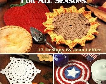 Hot Pads All Seasons Crochet Apple Sunflower Jack-O-Lantern Star Stripe valentine Heart Shamrock Egg Craft Pattern Leaflet Leisure Arts 2741