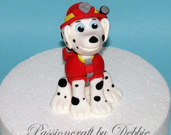 Fondant edible cake topper 3D - Marshall Paw Patrol Patrulla Canina birthday anniversary boy baby shower