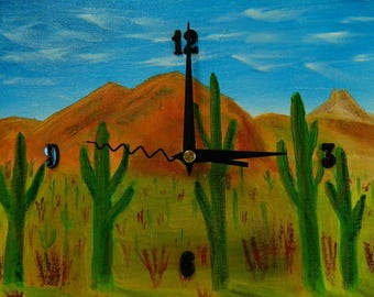 "Sonoran Desert, Original Oil Painting Clock, 9"" x 11"" x 2"", CP6"