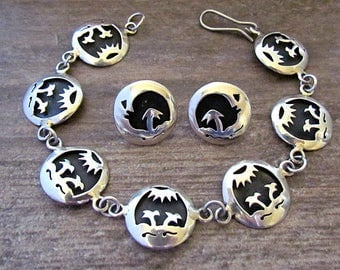 Vintage Mexican sterling silver Bracelet & Earrings with Palm Trees sun moon signed TH-132