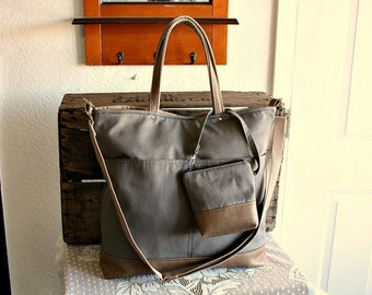 Canvas and vegan leather totebag/ carryall/ tote /messenger/ crossbody purse/Matching pouch included Ecru  colors- READY