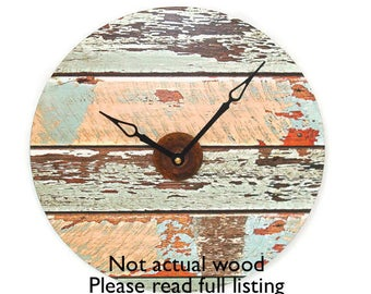 SILENT Rustic Wall Clock 10 or 12 Inches, Wood Image Wall Clock, Unique Wall Decor, Unique Wall Clock (NOT Real Wood) - 2192