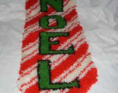 Mid Century Mod Pop Eames Retro NOEL Christmas Shag Rug Carpet Runner Wall Hanging