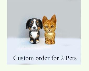 Custom 2 Pets Tiny Kokeshi Doll Dog Cat