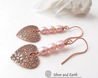 Copper Heart Earrings, Pink Pearl Earrings, Romantic Gifts for Her, Copper Anniversary Gift, June's Birthstone - Pearl, Gifts for Women