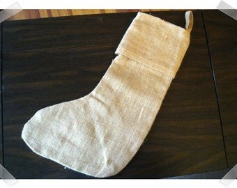 "Burlap Stocking with hanger/ Beige Color /16"" long/ Holiday Decor/ Craft Supplies**"