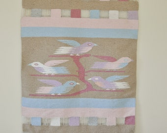 Vintage Woven Wool Tapestry Weaving Bird Wall Hanging Pastel colors