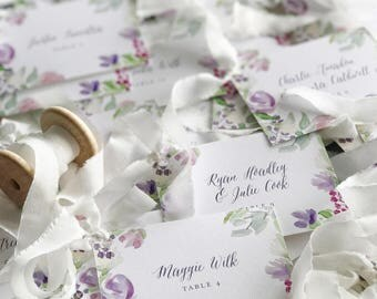 Floral Watercolor Place Cards, Painted Escort Cards, Purple, Botanical, Custom, Wedding Invitations
