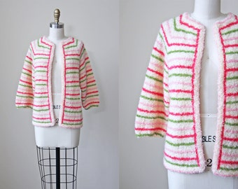 ON SALE 60s Sweater - Vintage 1960s Mohair Striped Olive Pink Cream Cardigan M L - Festivities Sweater