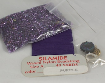 SALE! Inspirational Kit Glass Seed Bead Mix in Purple Amethyst with Silamide Thread Needle and Clasps destash by ceeceedesigns