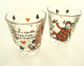 Vintage shot glasses, Here's To Liquor, This is Quicker, Harlequin & card suits, mid-century kitschy barware, gift for men, stocking stuffer