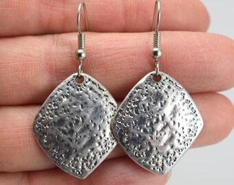 Textured Diamond Silver Earrings, Diamond Pewter Earrings, Square Earrings, Antiqued Silver Earrings, Gift for Her, Gift under 25