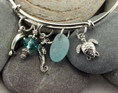 Silver Plated Adjustable Charm Bracelet with Soft Blue Genuine Sea Glass