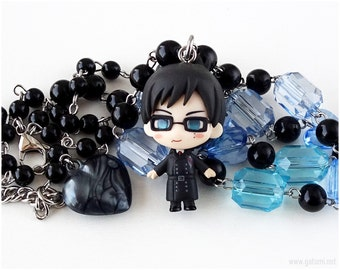Yukio Okumura Beaded Necklace, Black, Blue, Anime Jewelry, Gothic Lolita, OOAK