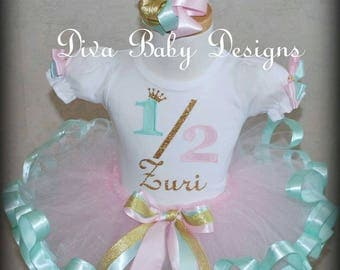 Half 1/2 birthday ribbon trimmed tutu outfit in Mint light pink gold birthday outfits 6 month baby girl photography half birthday girl tutus