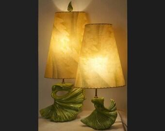 Vintage ROYAL HAEGER Pottery Lamp - Pair of DANCERS with Art Deco Fiberglass Shades
