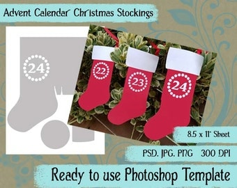 "Digital Template: ""Stocking Advent Calendar"" DIY Digital Christmas Stocking Advent Calendar Favor Bag Photoshop Template Crafting Supplies"