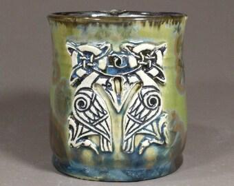 Celtic Knot Swans Stamped Green Brown Blue Crystalline Glazed Porcelain Wheel Thrown Ceramic Clay Mug