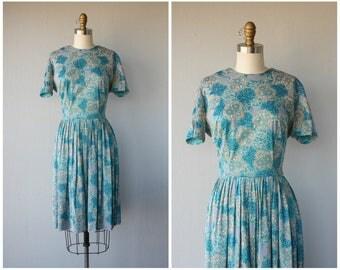 60s Dress | 1960s Dress | 60s Day Dress | Printed Day Dress | Pastel Dress | Fit and Flare Dress - medium