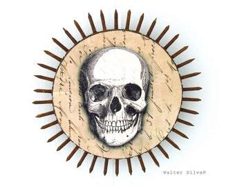 Day of the Dead Skull No: 8 Circular Wall Hanging - Mixed Media Skull Decoration - Skull Assemblage - Folk Art
