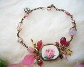 Broken China Bracelet Recycled Jewelry Vintage Pink Rose Pattern Glass Beads Fairy Charm Broken Cups and Plates Mosaic