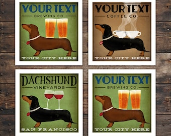 FREE CUSTOMIZATION Brown Black DACHSHUND Wiener Dog Wine Coffee Martini & Beer Brewing graphic art print  - Signed Fowler