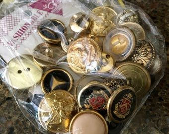 Gold Buttons, Vintage Buttons, Package of 25